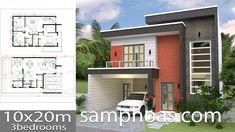 House Plans Plot With 3 Bedrooms - Sam House Plans Two Story House Plans, House Layout Plans, Dream House Plans, House Layouts, House Floor Plans, Simple House Design, Bungalow House Design, House Front Design, Modern House Design