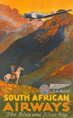 South African Airways vintage travel poster