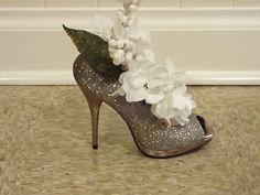 Silver Shoe Centerpiece with White Decor   eBay