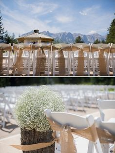 ceremony burlap and babys breath decor