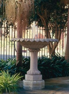 A composition stone fountain on modern concrete octagonal base with iron water pipe at centre of the bowl, lined in c2000 with a rubber membrane. The bowl of the fountain is based on the lotus flower, possibly inspired by Indian Mughal originals, although given a Greek Revival interpretation. The base of the plinth features stylised acanthus leaves. This fountain is one of the earliest known in Australia and appeared in the grounds of Elizabeth Bay House in Sydney in c1835. Elizabeth Bay…