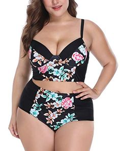 84674509453 Wavely Women Plus Size Swimwear Vintage Floral Two Piece Swimsuit High  Waisted Bikini