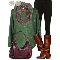 Holiday outfit-cute and comfy!  Love the color of this sweater.