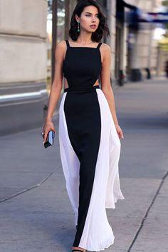 Black White Two Tone Straps Open Back Party Dress #Black #Dress #maykool