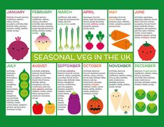 Seasonal Fruits And Vegetables Charts Fridge Magnets