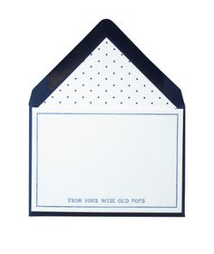 Wise Old Pops Stationery Set: Personalized stationery that carries a hefty message: This set of eight letterpressed cards, printed on thick eggshell stock, comes with coordinating cobalt envelopes lined with a sporty polka dot pattern.  (36 Unique Gifts for Dad)