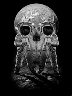 Gestalt is an organized whole. All the parts of this image are recognizable as two astronauts on the moon.... However, as a whole, it's designed to look like a scull.