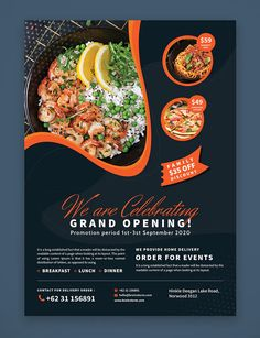 This template will help you to promote your restaurant, cafe or any food business. Design Poster, Ad Design, Layout Design, Modern Design, Template Flyer, Flyer Design Templates, Restaurant Poster, Restaurant Design, Business Design