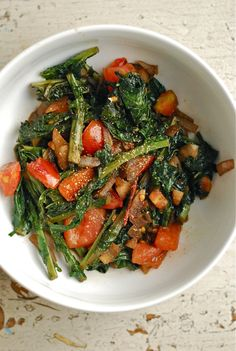Heathy Summer Eats: 11 Kale Salad Recipes.  Wilted Kale and Tomato Salad    This easy summer salad features wilted kale to appeal to those who just aren't into the raw stuff and juicy summer tomatoes to appeal to those who have taste buds.   Babble Food has the recipe   Image: Brooklyn Supper