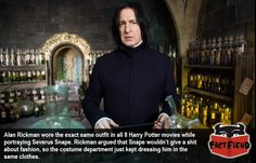 Snape Never Changed His Outfit in the Harry Potter Films - http://www.factfiend.com/snape-never-changed-outfit-harry-potter-films/