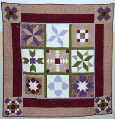 this is a secret sister quilt. I was given fat quarters and instructions each month to construct the individual blocks. It is machine pieced and hand quilted.