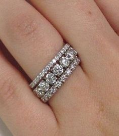 Rings: How Do People Wear Eternity Bands? Stacked Eternity Bands from Adiamor One for him, one for God, one for me.Stacked Eternity Bands from Adiamor One for him, one for God, one for me. Blue Wedding Rings, Stacked Wedding Bands, Bridal Rings, Stackable Wedding Bands, Ruby Wedding, 3 Wedding Bands, Stackable Rings, Bridal Jewelry, Eternity Ring Diamond