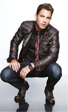Semi formal look - Shirt+ Denim+ Tie + Leather Jacket
