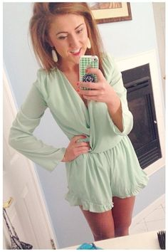 SarahBelle93x in ShopRiffraff.com's Thrilled to Frill Mint Green Romper!