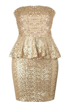 Gold Peplum Dress: Features a straight strapless cut with princess seams to the bodice, slightly cinched waist for a figure-flattering effect, hundreds of glittering sequins covering the entire dress, and a flirty peplum waist to finish.