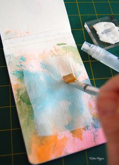 technique-acrylic block inking plus gesso then stamp words with black