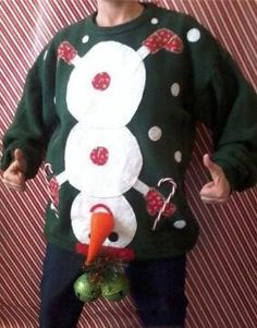 tacky Christmas party next year! Naughty Ugly Christmas Party Holiday Sweater Mens Tacky L XL Snowman Winner Tacky Christmas Sweater, Ugly Xmas Sweater, Xmas Sweaters, Xmas Jumpers, Funny Christmas Sweaters, Christmas Clothes, Funny Xmas, Ugly Sweaters Diy, Homemade Ugly Christmas Sweater