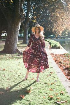 Boho Bohemian Dress nursing floral stretchy maxi long sleeve modest  red fun print