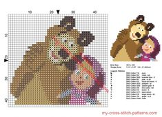 Small Masha and The Bear cross stitch pattern for baby bibs size 44 x 41 stitches