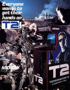 T2 ARCADE MACHINE FLYER CABINET - note: Terminator 2 1991 movie related pic