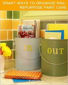Use old paint cans to organize your mail. More tips @BrightNest Blog