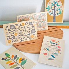 Carte postale en bois fleurs des champs
