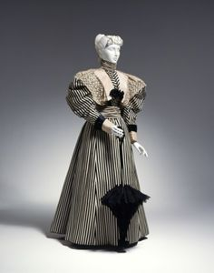 Black and white striped afternoon dress, c. 1895