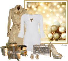"""Gold and White for Christmas"" by christa72 on Polyvore"