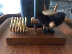 Hans Bolling style vintage wooden scandinavian figurine.  Desk set with pen- and letterholder.