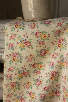 Vintage French fabric 1920's floral light cotton material Beautiful Spring tones. 3yds.