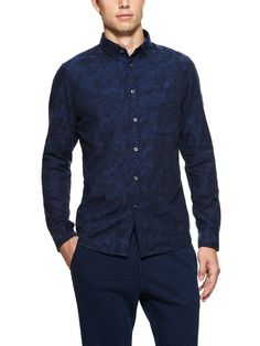 Camo in indigo - cool take on the pattern... by Wings and Horns, and made in Canada. I'll have to see if I can find me one of these by the fall