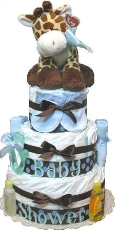 Boy Diaper Cake (I LOVE making diaper cakes, so fun and very cute and contain a TON of stuff)