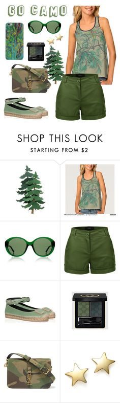 """Go camo"" by clipso-callipso ❤ liked on Polyvore featuring The Row, LE3NO, Roger Vivier, Gucci, Yves Saint Laurent and Bloomingdale's"