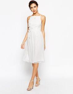 Elise Ryan High Neck Midi Prom Dress with 3D Daisy Flowers