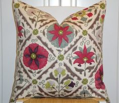 """ONE 20"""" x 20"""" decorative pillow cover. Made with beautiful cotton designer home decor fabric. Colors include magenta, plum, citrine, hot pink, sage, grey and brown on a cream background. $ 42"""
