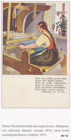 Martta Wendelin (1893-1986) kuvasi korteissaan useinkin tavallista elämää sen monissa muodoissa.   Kultatähkäsarjan korteissa oli pi... Vintage Pictures, Cool Pictures, Antique Photos, Old Paintings, Illustrations And Posters, Christmas Art, Textile Art, Vintage Art, Martini