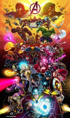 Marvel Avengers Alliance Assemble Forever by GAD by Dreamgate-Gad on DeviantArt Ms Marvel, Marvel Comic Universe, Marvel Comics Art, Avengers Comics, Marvel Heroes, The Avengers, Marvel Avengers Alliance, Poster Marvel, Marvel Characters