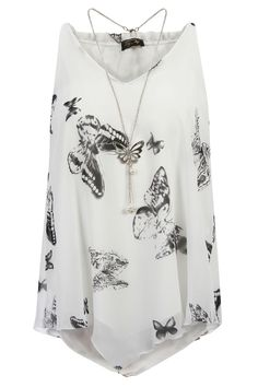 Pop Couture - BLACK AND WHITE BUTTERFLY PRINT CHIFFON OVERLAY NECKLACE VEST TOP, £23.99 (http://www.popcouture.co.uk/new-in/black-and-white-butterfly-print-chiffon-overlay-necklace-vest-top/)