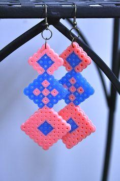 Diamond Geometric  Retro Perler bead Earrings by YogiYoAccessories