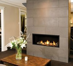 Tiled Fireplace Wall - If your fireplace is old and the tile has the color fades, or if you just want to clear up your room by renovating your fireplace mantel, change the look of your wall fireplace. Since the fireplace is a focal point of the room Tiled Fireplace Wall, Linear Fireplace, Stove Fireplace, Fireplace Remodel, Fireplace Surrounds, Fireplace Design, Fireplace Mantels, Fireplace Ideas, Mantel Ideas