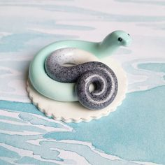 Teal and Granite Themed Snake. Handmade from Polymer Clay by The Clay Kiosk on Etsy.