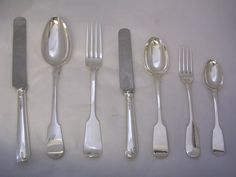 GEORGIAN SILVER FIDDLE PATTERN CUTLERY | GA fiddle pattern with new Old English Pattern knives