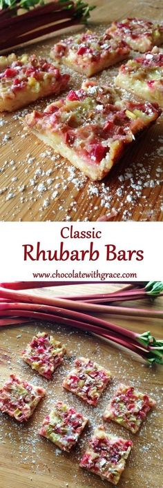 Bars Rhubarb Bars - shortbread crust and tangy rhubarb topping.Rhubarb Bars - shortbread crust and tangy rhubarb topping. Spring Desserts, Just Desserts, Delicious Desserts, Rhubarb Desserts Easy, Rhubarb Dishes, Best Rhubarb Recipes, Rhubarb And Custard, Rhubarb Rhubarb, Gastronomia