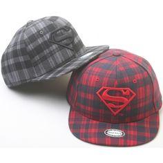 147cc5c8ef9 H22 Superman Mark Check Pattern HipHop Bill Snapback Adjustable Flat Hat  Brim Cap