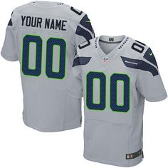 Mens Nike Seattle Seahawks Customized Elite Grey Alternate NFL Jersey