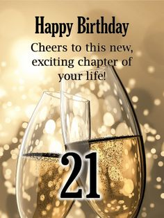 Send Free Champagne Toast - Happy Birthday Card to Loved Ones on Birthday & Greeting Cards by Davia. It's free, and you also can use your own customized birthday calendar and birthday reminders. Happy 21st Birthday Daughter, Happy 21st Birthday Quotes, Birthday Wishes For Her, Birthday Quotes For Her, 21st Birthday Cards, Birthday Wishes Messages, Birthday Card Sayings, Happy Birthday Friend, Birthday Greetings