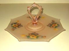 Pink Frosted Depression Handpainted Glass by rosaelianevarez, $38.95