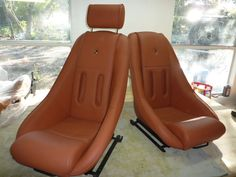 AVUS seats with Speedster slot and Porsche crest for a 356 in leather w perforated leather centers.Classic Car Seats by GTSclassics
