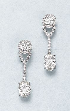PHILLIPS : NY060109, , A Pair of Diamond Ear Pendants