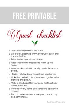 Free printable checklist to get your home ready for guests this holiday